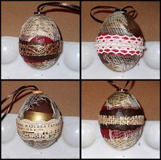 Create Nifty Egg Ornaments from real eggs. This tutorial shows you how to drain an egg and use decoupage to create a unique homemade Christmas ornament. Use paint and other materials to make each egg different.