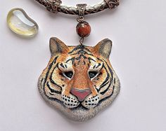 Fox jewelry - Polymer clay pendant - animal jewelry - Best gift for her - Nature…