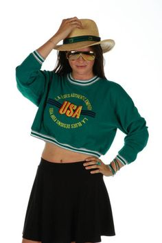 90s Vintage Crop USA Sweater/Sweatshirt  | Get your vintage 80s and 90s party clothes and all manner of outrageous threads at Shinesty.com