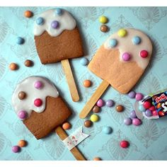 Eis-am-Stiel-Kekse Cookie Time, Pop Sicle, Biscuits, Party Sweets, Baking With Kids, Ice Cream Party, Cute Cookies, Cute Food, Royal Icing