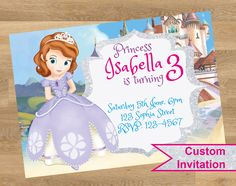 Sofia the first invitation, Sofia the first invitations, Sophia the first invitation, Sophia the princess invitations, Printable, Customized by DesignMadeDesigns on Etsy Princess Invitations, Custom Invitations, Birthday Invitations, Shopkins Invitations, Sofia The First, Printables, Disney Princess, Disney Characters, Handmade Gifts