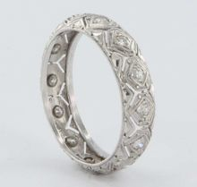 Vintage Estate Diamond 900 Platinum Eternity Wedding Anniversary Band Ring Jewelry