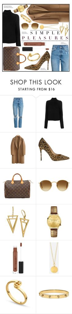 """""""Simple Pleasures"""" by piloariass ❤ liked on Polyvore featuring Calvin Klein 205W39NYC, WithChic, Sergio Rossi, Louis Vuitton, Ray-Ban, GUESS, Anastasia Beverly Hills, Henri Bendel, Gucci and Tory Burch"""