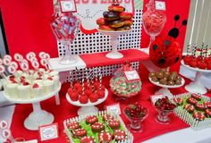 Candy table ideas for birthday parties in category tables with description cand Candy Table, Candy Buffet, Dessert Table, Birthday Candy, First Birthday Parties, First Birthdays, Ladybug Smash Cakes, Ideas Decoracion Cumpleaños, Casino Party Foods