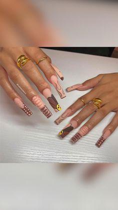 Sexy Nails, Dope Nails, Trendy Nails, Fun Nails, Stiletto Nails, Brown Acrylic Nails, Brown Nails, Cute Acrylic Nails, Color For Nails