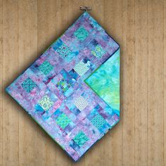 Handmade cotton quilted baby blanket hand-dyed by ScrappieGirlz