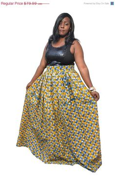 811ddf7ad571c Clearance was USD 79 now is USD 39.99 - Largo - Plus Size African Print Maxi  Skirt