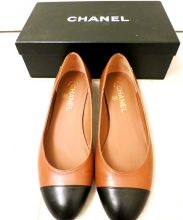 Chanel classic leather flats in camel on SNOBSWAP https://snobswap.com/listings/view/2984