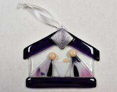 Purple and Pink Fused Glass Nativity/ Suncatcher/ by janesglassart $17