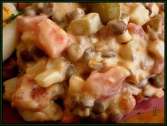 Čočku namočíme asi na 2 hodiny a pak uvaříme do měkka. Nakrájíme si rajčata, okurky, papriku a uvařená vajíčka. Přidáme čočku, můžeme trochu... Pasta Salad, Potato Salad, Potatoes, Chicken, Meat, Vegetables, Ethnic Recipes, Food, Red Peppers