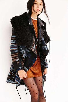 BB Dakota Furry Hood Blanket Coat - Urban Outfitters