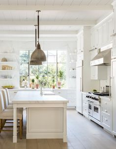 clean lines of kitchen cabinetry, and paint color for cabinets.