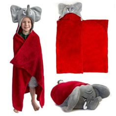 Hooded blankets for kidsare really darling gift ideas. Kids loveplaying with the faces, sleeves and pawson these adorable hooded blankets.