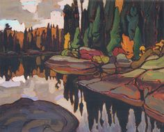 art over mantel idea Algoma Reflections by Lawren Harris, Group of Seven. Oil on wood panel, x cm Group Of Seven Artists, Group Of Seven Paintings, Paintings I Love, Tom Thomson, Canadian Painters, Canadian Artists, Emily Carr, Landscape Art, Landscape Paintings