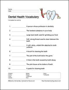 10 Worksheets That Will Teach Your Child the Basics of Dental Health: Dental Health Vocabulary