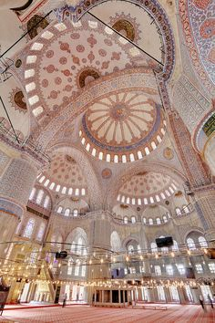 Blue Mosque, Istanbul, Turkey | Interior, dome & praying area; the Mosque was built between 1609 and 1616 during the reign of Sultan Ahmed I.