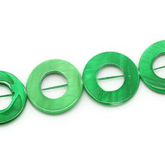 Green Shell Round Beads Circle Bead 25mm 1 Strand 3988 by OverstockBeadSupply on Etsy
