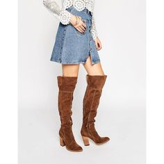 Dolce Vita Cliff Western Suede Heeled Over The Knee Boots (£188) ❤ liked on Polyvore featuring shoes, boots, grey, leather cowboy boots, over-the-knee high-heel boots, over-knee boots, grey over the knee boots and grey leather boots