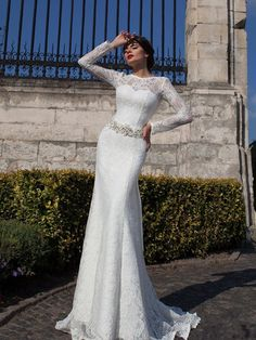 Column Court Train Lace Wedding Gown With Belt