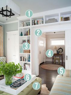 Get This Look: Living Room Built-In Shelves   7 tips for a stylish home library