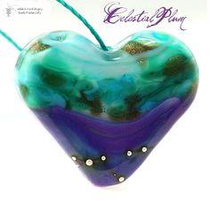 Celestial Plum Heart handmade lampwork. Starting at $15 on Tophatter.com!