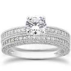 1.10CT Heirloom Milgained Diamond Engagement Wedding Ring Set 14K White Gold