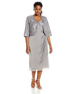 Le Bos Womens PlusSize Scallop Lace Jacket and Surplus Dress Silver 20W * Click image to review more details.