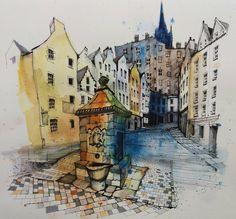 "1,357 Likes, 14 Comments - Fennelly Art (@ianfennelly) on Instagram: ""Edinburgh #grassmarket #cobbles #usk #urbansketch #sketchbook #drawing #draw #art_collective…"""
