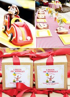 Curious George birthday party using kraft square gift boxes for favors.  http://proof.nashvillewraps.com/gift-boxes/kraft-gift-boxes/recycled-kraft-gift-boxes-4-4-4/sku-kg02.html