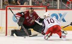 GLENDALE, AZ - DECEMBER 03: Goalie Mike Smith #41 of the Arizona Coyotes makes a pad save on the shot attempt by Alexander Wennberg #10 of the Columbus Blue Jackets during the third period at Gila River Arena on December 3, 2016 in Glendale, Arizona. (Photo by Norm Hall/NHLI via Getty Images)