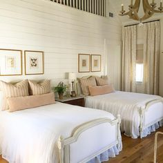 "Ashley Gilbreath ( ""Fun shoot today in Water Color. Love this sweet room shared by the cutest sisters ever! Twin Beds Guest Room, Home, Bedroom Inspirations, Home Bedroom, Girly Bedroom, Guest Bedrooms, Shared Rooms, Dreamy Bedrooms, Beautiful Bedrooms"