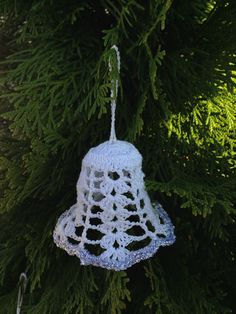 Set of 5 Christmas Tree Decoration - Crochet white hanging silver bells ornaments for Holiday decor. by 3DArhitect on Etsy