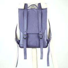 Lilac-blue leather backpack rucksack / To order / by kokosina