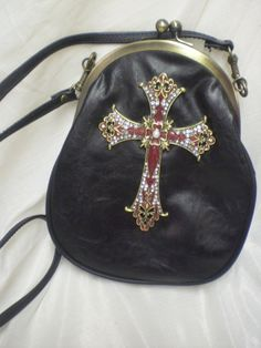 Upcycled Black Leather Handbag Purse by girliedesignsbyallie, $29.99