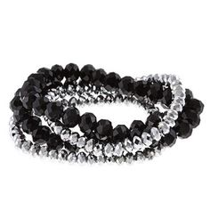 @Overstock - Alexa Starr Silver and Black Stretch Bracelets - These stretch bracelets by Alexa Starr are the perfect accessory. The metallic silver and faceted black crystals pair together perfectly and look chic.  http://www.overstock.com/Jewelry-Watches/Alexa-Starr-Silver-and-Black-Stretch-Bracelets/9529618/product.html?CID=214117 CAD              19.88