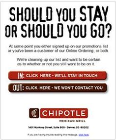 re-engagement emails - Chipotle