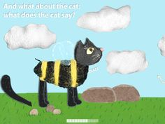 Who goes buzz? The cat after eating the bee!!   >> cute cat in a bee costume - #kidsapp #summer #spring  https://itunes.apple.com/en/app/qui-fait-bzz-sabine-greef/id980907652?mt=8