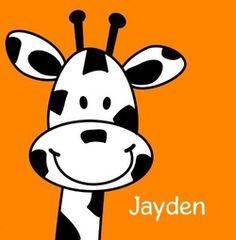 Geboortekaartje Giraffe. De goedkoopste geboortekaartjes online ontwerpen en bestellen via http://www.geboortepost.nl/geboortekaartjes/cartoons/happy-giraffe-on-orange-vk.html