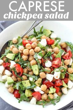 This Caprese Chickpea Salad is full of flavor and bursting with fresh ingredients like avocado tomato mozzarella fresh herbs and more. This makes a great vegetarian meal option for lunch or dinner thanks to the protein packed chickpeas. Great Vegetarian Meals, Vegetarian Recipes, Healthy Recipes, Chickpea Salad Recipes, Simple Salad Recipes, Garbanzo Bean Recipes, Caprese Salad Recipe, Chopped Salad Recipes, Bean Salad Recipes