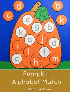 pumpkin alphabet match for preschool and kindergarten. Fall Preschool, Preschool Lessons, Kindergarten Literacy, Preschool Learning, Early Learning, Learning Activities, Pumpkin Preschool Crafts, Halloween Preschool Activities, October Preschool Themes