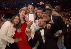 Most star-studded selfie ever? Stars including Jared Leto, Jennifer Lawrence and Meryl Street along with Brad Pitt and Angelina Jolie got in...