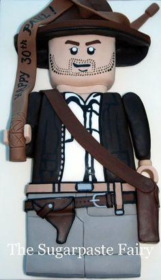 Indiana Jones Lego Man Cake by SugarpasteFairy. Via:  cakesdecor.com