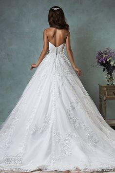 amelia sposa 2016 wedding dresses strapless sweetheart neckline embroidered pretty a line skirt ball gown wedding dress deline back view