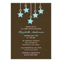 Brown and Blue Baby Mobile Invitations