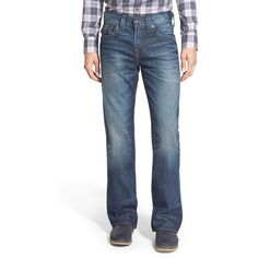 True Religion Brand Jeans 'Billy' Bootcut Jeans ($198) ❤ liked on Polyvore featuring men's fashion, men's clothing, men's jeans, urban dweller, true religion mens jeans, mens relaxed boot cut jeans, mens bootcut jeans, mens faded jeans and mens relaxed fit jeans