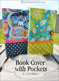 from Pixels to Patchwork: Let's Get Acquainted + Book Cover Tutorial --> Would be a great bible cover or gift for a book lover. Quilting Tutorials, Sewing Tutorials, Sewing Projects, Sewing Patterns Free, Free Sewing, Fabric Book Covers, Notebook Covers, Journal Covers, Journal Notebook