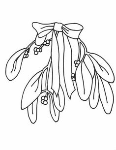 mistletoe coloring page mistletoe with ribbon christmas coloring page