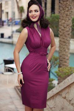 Daisy Dapper ~ 50s Loretta Pencil Dress in Cerise #iddavonmunster