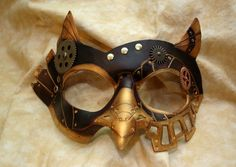 Ready To Ship -- SteamOwl Brown Leather Steampunk Owl Cosplay Mask via Etsy