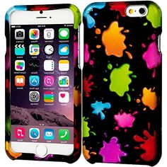 """myLife Black, Pink and Orange {Abstract Colorful Splatter} 2 Piece Snap-On Rubberized Protective Faceplate Case for the NEW iPhone 6 Plus (6G) 6th Generation Phone by Apple, 5.5"""" Screen Version """"All Ports Accessible"""" myLife Brand Products http://www.amazon.com/dp/B00UIEED4M/ref=cm_sw_r_pi_dp_wXBhvb0AB5PFC"""